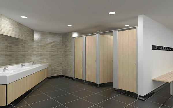 Curved bathroom units - Metal Framed Toilet Cubicle Systems Moisture Resistant