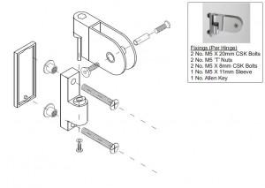 Toilet Cubicle Hinge 12mm