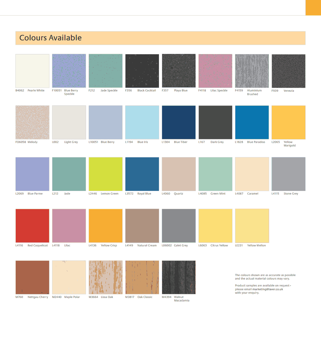 Washroom Colour ranges