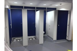 toilet and shower cubicles for changing rooms
